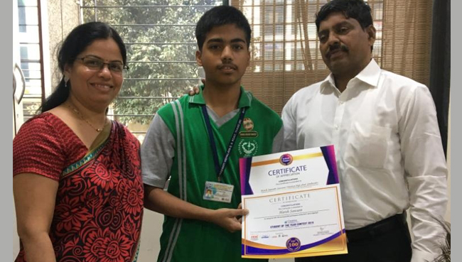 Harsh Sawant of Standard IX - Student of the Year | Schools in GB Road Thane